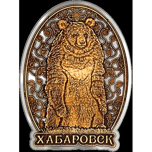 """Магнит из бересты Хабаровск """"Гималайский медведь"""" (Серебро) В-21648"""