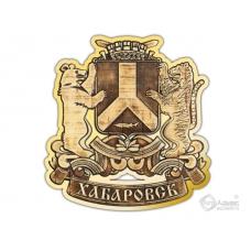 Магнит из бересты вырезной Хабаровский Герб золото