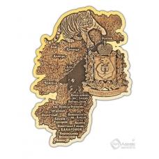 Магнит из бересты вырезной Хабаровский край карта золото