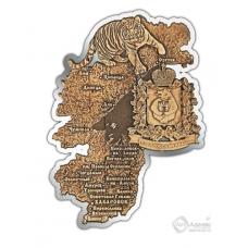 Магнит из бересты вырезной Хабаровский край карта серебро