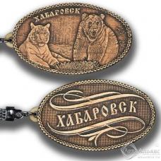 Берестяной брелок Хабаровск-Медведь и тигр