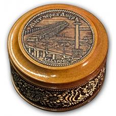 Шкатулка деревянная круглая с накладками из бересты Хабаровск-Мост через Амур 70х46
