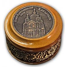Шкатулка деревянная круглая с накладками из бересты Хабаровск-Свято-Преображенский собор 70х46