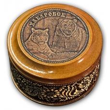 Шкатулка деревянная круглая с накладками из бересты Хабаровск-Медведь и тигр 70х46