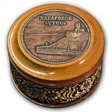 Шкатулка деревянная круглая с накладками из бересты Хабаровск-Утес 70х46