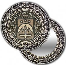 Зеркало круглое из бересты с накладкой Ханты-Мансийск-Герб