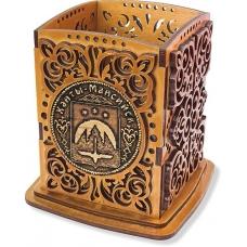 Карандашница с одной накладкай из бересты Ханты-Мансийск-герб