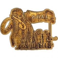 Магнит из бересты вырезной Ямал Мамонты золото В-20324
