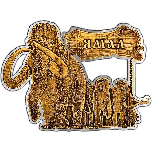 Магнит из бересты вырезной Ямал Мамонты (серебро) В-20325