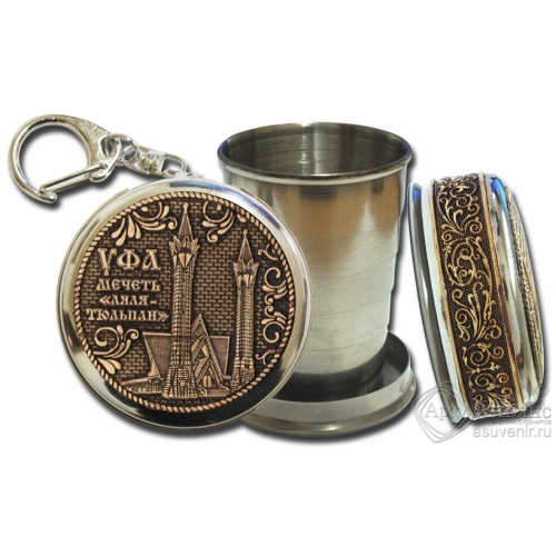 Стопка-брелок Уфа-Мечеть Ляля-Тюльпан с накладкой из бересты