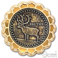 Магнит из бересты Якутия-Олень купола золото