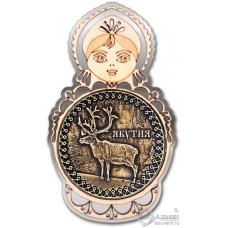 Магнит из бересты Якутия-Олень матрешка серебро