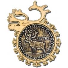 Магнит из бересты Якутия-Олень в рамке оленя дерево