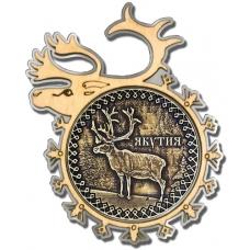 Магнит из бересты Якутия-Олень в рамке оленя серебро