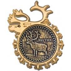 Магнит из бересты Якутия-Олень в рамке оленя золото