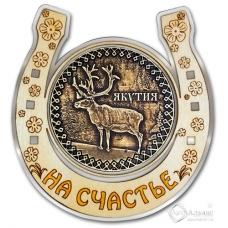 Магнит из бересты Якутия-Олень подкова серебро