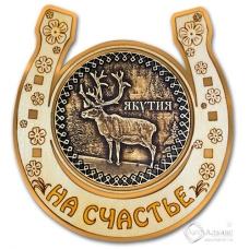 Магнит из бересты Якутия-Олень подкова золото