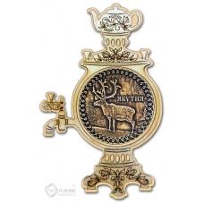 Магнит из бересты Якутия-Олень самовар дерево
