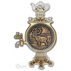 Магнит из бересты Якутия-Олень самовар серебро