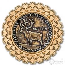 Магнит из бересты Якутия-Олень снежинка золото