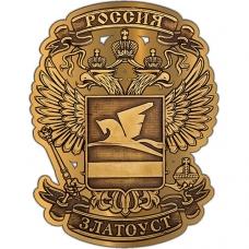 Магнит из бересты вырезной Златоуст Герб в Орле золото