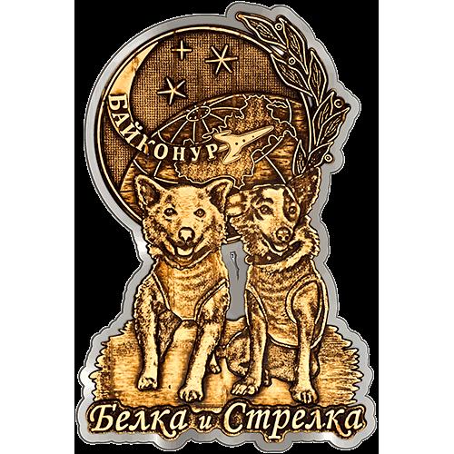 Магнит из бересты Байконур Белка и Стрелка (Серебро) В-22343