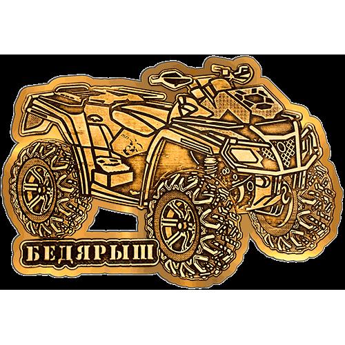 """Магнит из бересты Бедярыш """"Квадроцикл"""" (Золото) В-22222"""