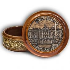 Шкатулка деревянная круглая с накладками из бересты  Санкт-Петербург-Зимний дворец (англ) 105х49