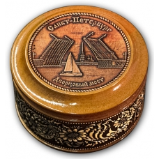 Шкатулка деревянная круглая с накладками из бересты  Санкт Петербург-Дворцовый мост 70х46