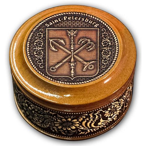 Шкатулка деревянная круглая с накладками из бересты  Санкт-Петербург-Герб (англ.) 70х46