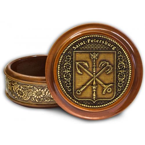 Шкатулка деревянная круглая с накладками из бересты  Санкт-Петербург-Герб (англ.) 95х48