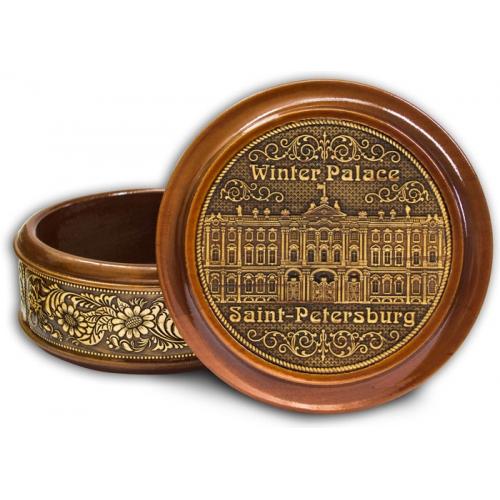 Шкатулка деревянная круглая с накладками из бересты  Санкт-Петербург-Зимний дворец (англ.) 95х48