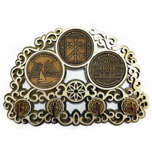 Ключница с тремя накладками из бересты Санкт-Петербург Коллаж