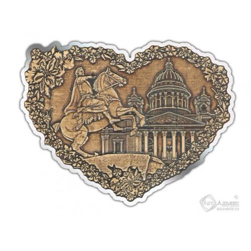 Магнит из бересты вырезной Санкт-Петербург-Коллаж сердце серебро