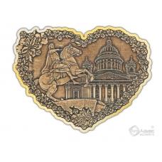 Магнит из бересты вырезной Санкт-Петербург-Коллаж сердце золото