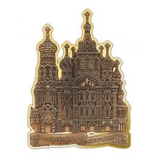 Магнит из бересты вырезной Санкт-Петербург-Храм Спас на Крови золото англ