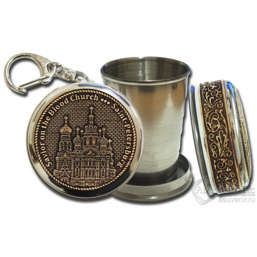 Стопка-брелок Санкт-Петербург-Храм Спас на Крови (англ) с накладкой из бересты