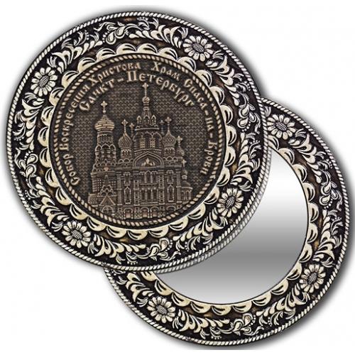 Зеркало круглое из бересты без ручки с берестяной накладкой Санкт-Петербург-Храм Спас на Крови
