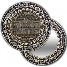 Зеркало круглое из бересты без ручки с берестяной накладкой Санкт-Петербург-Зимний дворец