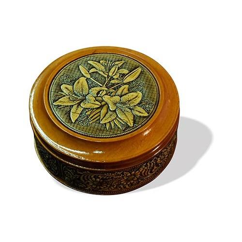 Шкатулка деревянная круглая с накладками из бересты Лилии 95х48