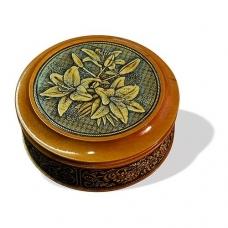 Шкатулка деревянная круглая с накладками из бересты Лилии 105х49