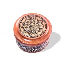 Шкатулка деревянная круглая с накладками из бересты Герберы 70х46