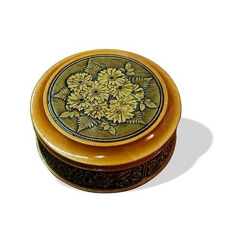 Шкатулка деревянная круглая с накладками из бересты Герберы 95х48