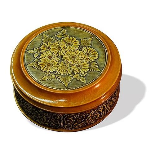 Шкатулка деревянная круглая с накладками из бересты Герберы 105х49
