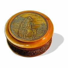 Шкатулка деревянная круглая с накладками из бересты Медведица с медвежатами 105х49