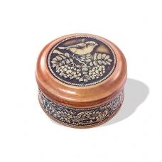 Шкатулка деревянная круглая с накладками из бересты Снегирь на рябине 58х39