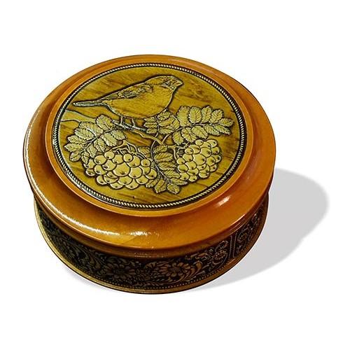 Шкатулка деревянная круглая с накладками из бересты Снегирь на рябине 105х49
