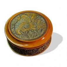 Шкатулка деревянная круглая с накладками из бересты Белка 105х49