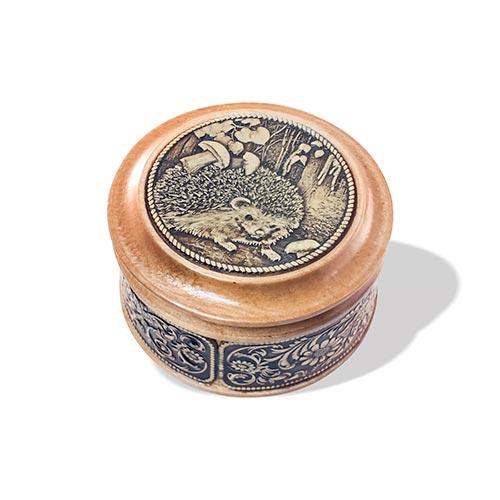 Шкатулка деревянная круглая с накладками из бересты Ежик 58х39