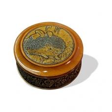 Шкатулка деревянная круглая с накладками из бересты Ежик 95х48